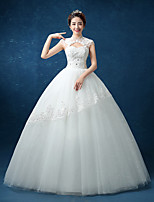 Ball Gown Wedding Dress - Chic & Modern Simply Sublime Floor-length High Neck Lace Satin Tulle with Beading Lace