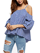 Women's Casual/Daily Sexy Summer Shirt,Striped Strap Long Sleeve Others Thin