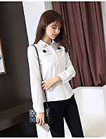 Women's Going out Casual/Daily Simple Shirt,Solid Shirt Collar Long Sleeve Polyester