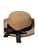 Bow Summer Straw Hat Cap Round Folding Soft Sun Hat Casual Foldable Brimmed Beach Hats For Women