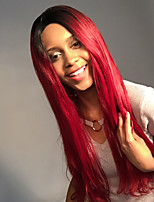 Maysu preto e vermelho gradiente cor longo reto cabelo frente lace peruca sintética ethereal mulher cabelo