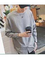 Men's Casual/Daily Sports Active Simple Sweatshirt Color Block Round Neck strenchy Cotton Long Sleeve Spring Fall