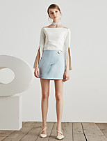 Masked Queen Women's High Rise Going out Casual/Daily Work Above Knee Skirts,Simple Cute A Line Solid All Seasons