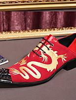 Черный Красный-Для мужчин-Свадьба Для офиса Для вечеринки / ужина-Кожа Замша-На плоской подошве-Удобная обувь Оригинальная обувь