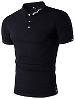 Men's Casual/Daily Chinoiserie Polo,Solid Round Neck Short Sleeve Cotton