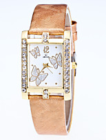 Women's Fashion Watch Wrist watch Quartz Rhinestone Butterfly Leather Band Casual