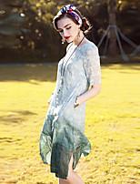 Для женщин На выход На каждый день Праздник Винтаж Изысканный А-силуэт Платье Однотонный Жаккард,Круглый вырез До коленаС короткими