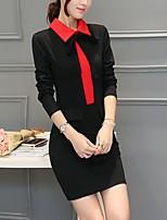 Women's Work Boho Bodycon Dress,Solid Peter Pan Collar Mini ½ Length Sleeve Cotton Spring Mid Rise Micro-elastic Medium