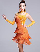 Latin Dance Dresses Women's Performance Viscose Tassel(s) Crystals/Rhinestones Sequin 5 Pieces Sleeveless Natural Dress/Gloves/Neckwear/Shorts