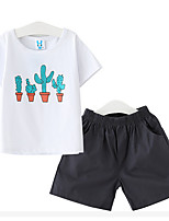 Girl Casual/Daily Print Sets,Cotton Summer Short Sleeve Clothing Set