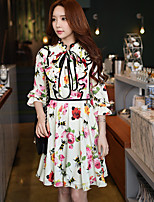 DABUWAWA Women's Going out Party Holiday Vintage Boho Sophisticated A Line Sheath Swing DressFloral Color Block Stand Above Knee  Length Sleeve