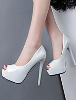 Белый Черный Светло-лиловый-Для женщин-Повседневный-Полиуретанклуб Обувь-Обувь на каблуках