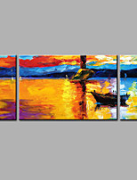 Hand-Painted Abstract Modern The Sunset Seascape Three Panels Canvas Oil Painting  For Home Decoration