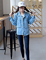 Women's Casual/Daily Holiday Simple Street chic Spring Fall Denim JacketSolid Shirt Collar Regular Others