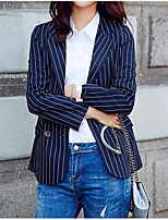 Women's Casual/Daily Simple Spring Blazer,Striped Notch Lapel Long Sleeve Long Polyester