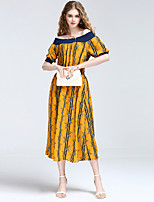 8CFAMILY Women's Going out Casual/Daily Sexy Boho Street chic A Line DressStriped Floral Boat Neck Above Knee Short Sleeve Polyester SummerMid