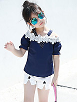 Girls' Going out Casual/Daily Polka Dot Patchwork Sets,Cotton Summer Short Sleeve Clothing Set