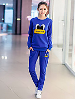 Women's Going out Casual/Daily Sports Simple Active Hoodie Pant Suits,Letter Round Neck Long Sleeve
