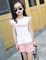 Girls' Casual/Daily Beach Holiday Solid Print Sets,Cotton Polyester Summer Sleeveless Clothing Set