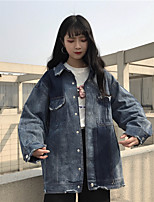 Women's Going out Vintage Spring Denim Jacket,Solid Stand Regular Others