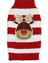 Chien Manteaux Pull Vêtements pour Chien Hiver Dessin-Animé Mignon Mode Décontracté / Quotidien Noël Rouge Vert