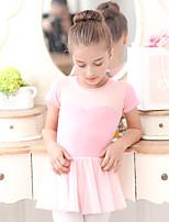 Ballet Dresses Kid's Training Chiffon Cotton Lace 1 Piece Short Sleeve