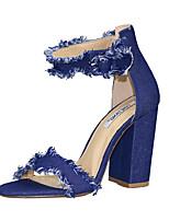 Feminino-Sandálias-Sapatos clube-Salto Grosso--Jeans-Social Casual Festas & Noite