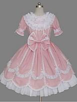 Une Pièce/Robes Gothique Lacets Princesse Cosplay Vêtrements Lolita Couleur Pleine Nœud papillon Mancheron Manches Courtes Court / Mini