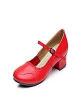 Non Customizable Women's Latin Leather Split Sole Indoor Buckle Stitching Lace Low Heel Red 1
