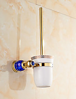 European Style Solid Brass Blue Crystal Gold Bathroom Shelf Bathroom Toilet Brush Holder Bathroom Accessories