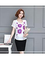 Damen Solide Chinoiserie Strand T-shirt,Rundhalsausschnitt Kurzarm Baumwolle