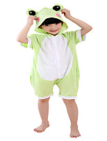 Kigurumi Pajamas Frog Leotard/Onesie Festival/Holiday Animal Sleepwear Halloween Cyan Solid Cotton Cosplay Costumes ForUnisex Female Male  Kid