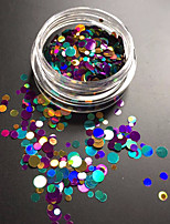 1Bottle Fashion Mixed Colorful Laser Glitter Paillette Round Slice Nail Art Decoration P10
