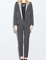 Women's Casual/Daily Simple Spring Suit,Polka Dot Peaked Lapel Long Sleeve Regular Cotton