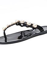 Damen Sandalen Komfort PU Frühling Sommer Normal Kleid Komfort Imitationsperle Flacher Absatz Weiß Schwarz Mandelfarben Flach