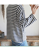 Men's Casual/Daily Going out Active Simple Street chic Sweatshirt Striped Round Neck strenchy Cotton Polyester 3/4 Length SleeveSpring