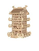 Пазлы 3D пазлы Строительные блоки Игрушки своими руками Китайская архитектура Дерево Модели и конструкторы