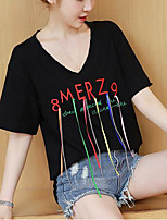 Women's Going out Casual/Daily Simple Cute Spring Fall T-shirt,Embroidered V Neck Short Sleeve Polyester Medium