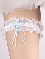 Garter Lace Nylon Bowknot Ribbon Rhinestone Ivory