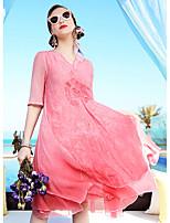 Для женщин На выход На каждый день Праздник Винтаж Изысканный А-силуэт Платье Вышивка,V-образный вырез До колена С короткими рукавамиШёлк