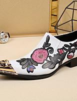 גברים-נעלי אוקספורד-עור-נוחות חדשני נעליים פורמלית-לבן שחור-חתונה משרד ועבודה מסיבה וערב-עקב שטוח