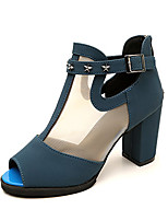 Women's Heels Spring Summer Fall Comfort PU Tulle Office & Career Dress Chunky Heel Buckle Burgundy Blue Black Walking