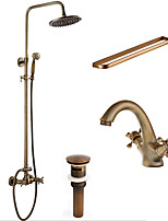 Antique Traditional Art Deco/Retro Shower System Rain Shower Handshower Included with  Ceramic Valve  Antique Shower Faucets