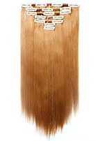 7pcs/Set 130g Strawberry Blonde Straight 50cm Hair Extension Clip In Synthetic Hair Extensions