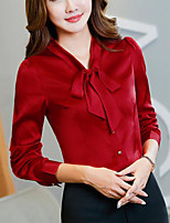 Women's Casual/Daily Simple T-shirt,Solid Shirt Collar Long Sleeve Cotton Thin