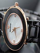 Women's Fashion Watch Quartz Ceramic Band Black White Black White Gold