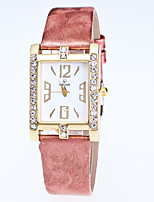 Women's Fashion Square Wrist Watch Quartz Rhinestone Butterfly Leather Band Casual