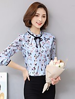 Women's Casual/Daily Simple Blouse,Floral Round Neck Long Sleeve Others