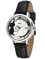 Women's Fashion Watch Japanese Quartz / Genuine Leather Band Casual Black Black White
