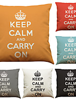 Set of 6 Keep Calm  Pattern Linen Pillowcase Sofa Home Decor Cushion Cover  Throw Pillow Case (18*18inch)
